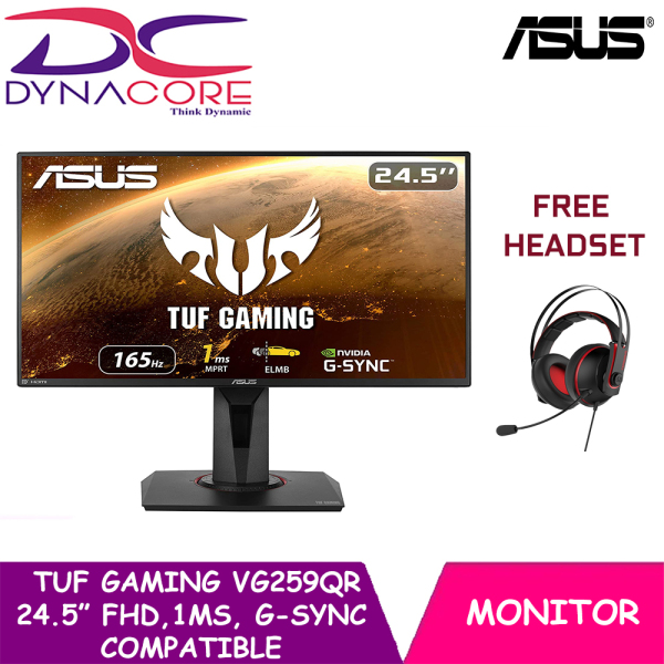 【DELIVERY IN 24 HOURS】DYNACORE - ASUS TUF Gaming VG259QR Gaming Monitor – 24.5 inch Full HD (1920 x 1080), 165Hz, Extreme Low Motion Blur™, G-SYNC Compatible ready, 1ms (MPRT), Shadow Boost