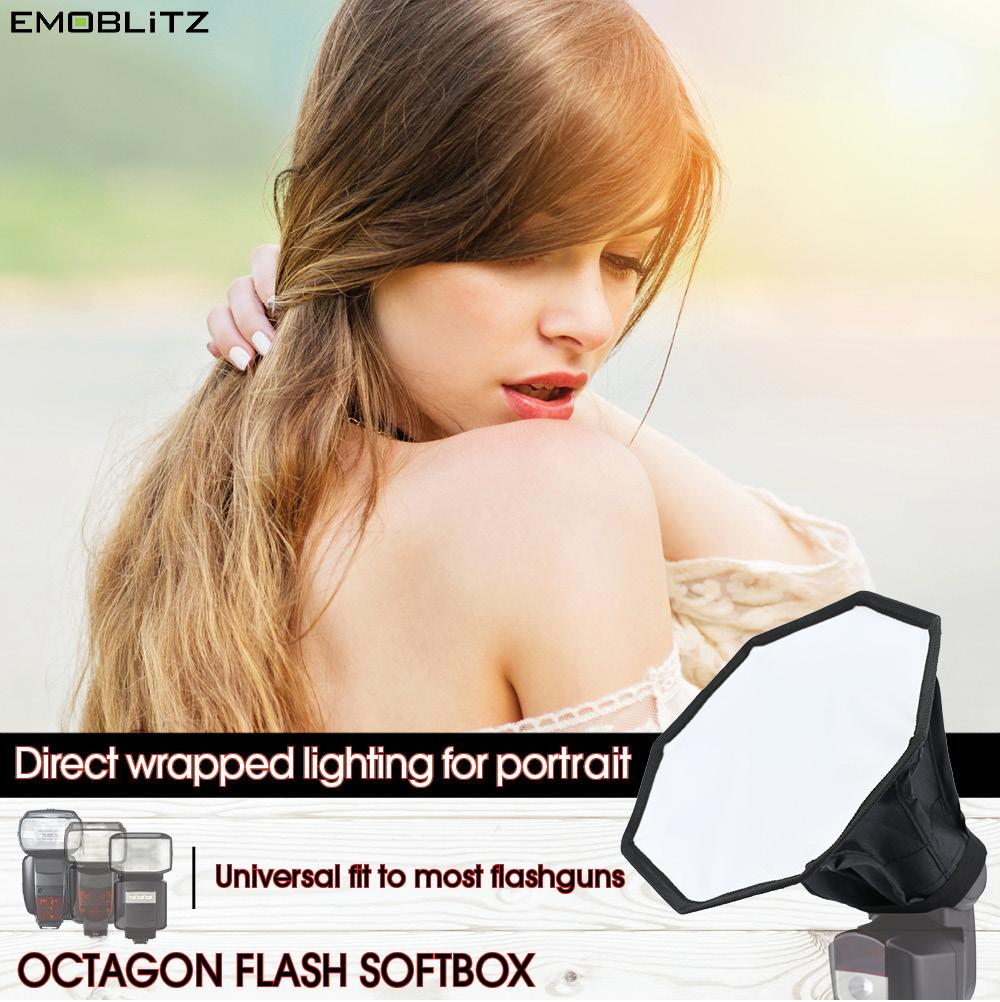Emoblitz Universal Compact Octagon Flash Softbox For Majority Of On-Camera Hotshoe External Speedlight Flash For Portrait Flash Photography.
