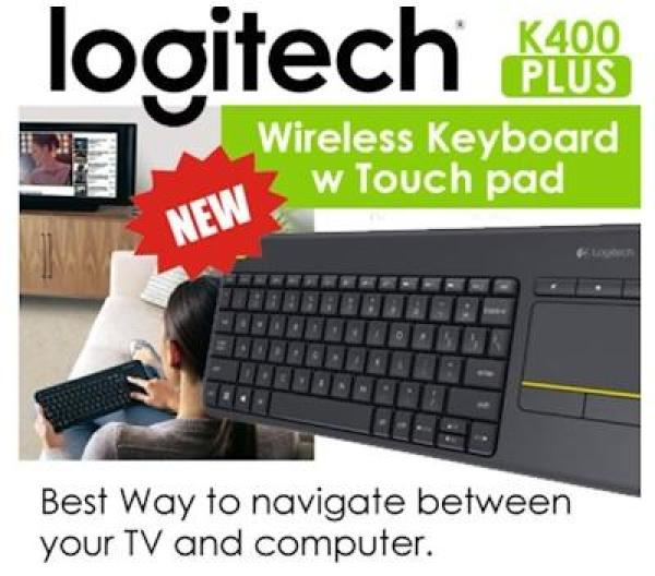 Logitech K400 Plus Wireless Keyboard + Intergrated TouchPad. Control PC to TV entertainment from your couch. Compact Size. USB Wireless. 18 Months Battery Life. Local SG Stock. 1 Year Warranty.. (In Black) Singapore
