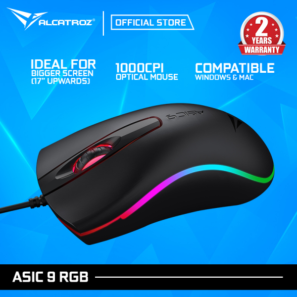 Alcatroz Asic 9 RGB FX Hi-Definition USB Wired Mouse With 1000 CPI Free Mousemat