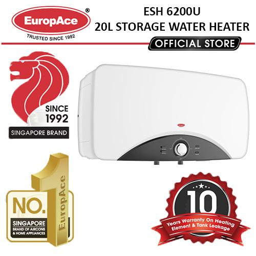 Europace 20l Horizontal Storage Water Heater Esh 6200u - 10 Years Heating Element & Tank Leakage Warranty.