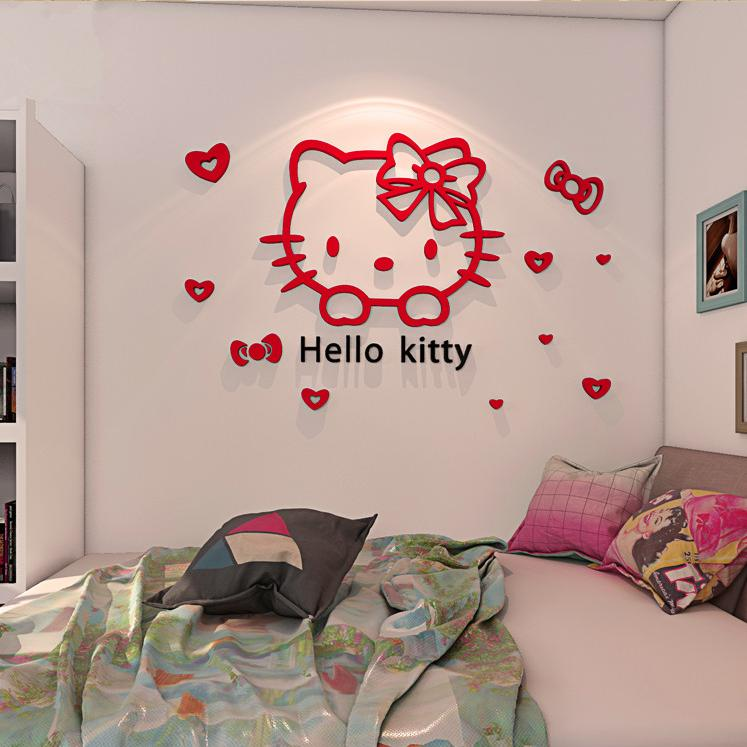 Hello kitty Children's Room Creative Stickers Warm Living Room Bedroom Bedside Wallpaper Stickers 3D Acrylic Three