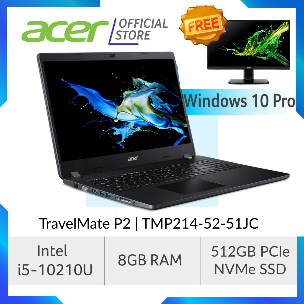 Acer TravelMate P2 TMP214-52-51JC Business Laptop with Windows 10 Professional