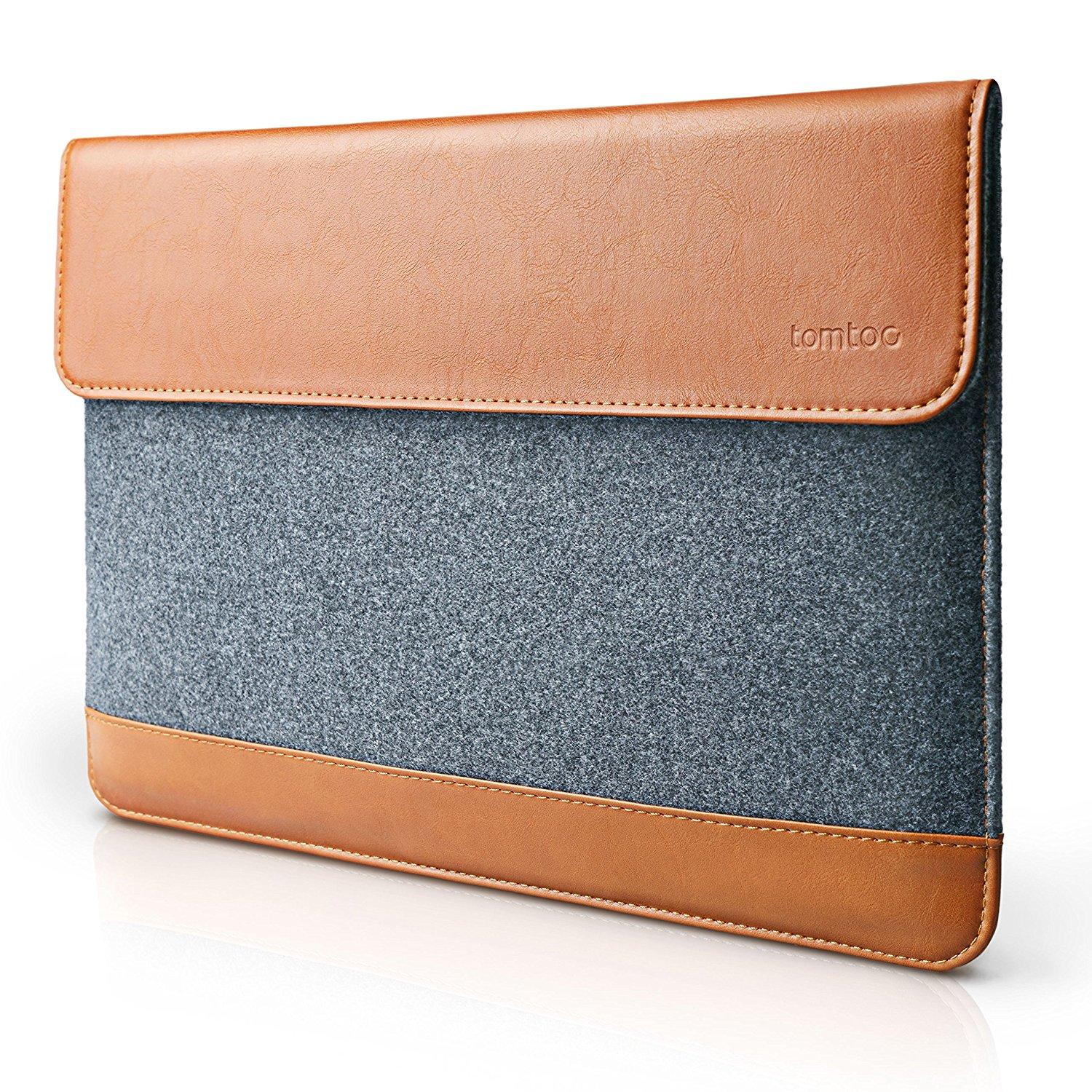 timeless design 215c7 3282f tomtoc A15 Ultra Slim Envelope Sleeve /Felt & PU Leather/ Protective  Carrying Bag with Accessory Pocket/ Gray Brown