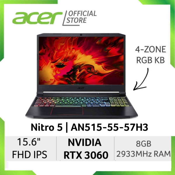 [READY STOCKS] [NVIDIA RTX 3060 ] Acer Nitro 5 AN515-55-57H3 15.6 Inch FHD IPS 144Hz Gaming laptop with NVIDIA RTX 3060 Graphic
