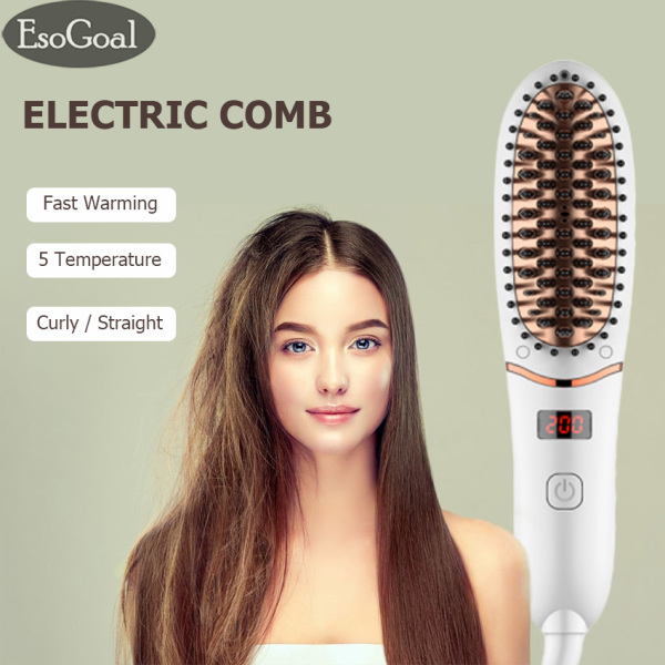 Buy EsoGoal Electric Hair Comb Electric Ionic Straightening Comb Straightener Curler Dual-use Hair Comb Multifunctional Hair Styler with LED Display for Both Men and Women Singapore