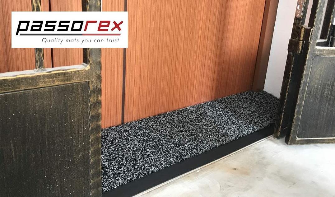 Passorex BTO HDB Door Gap Floor Mat 2.0  L120cm x 29cm @ L125cm x 27cm  Mat thickness T16mm+/-  Black/Grey
