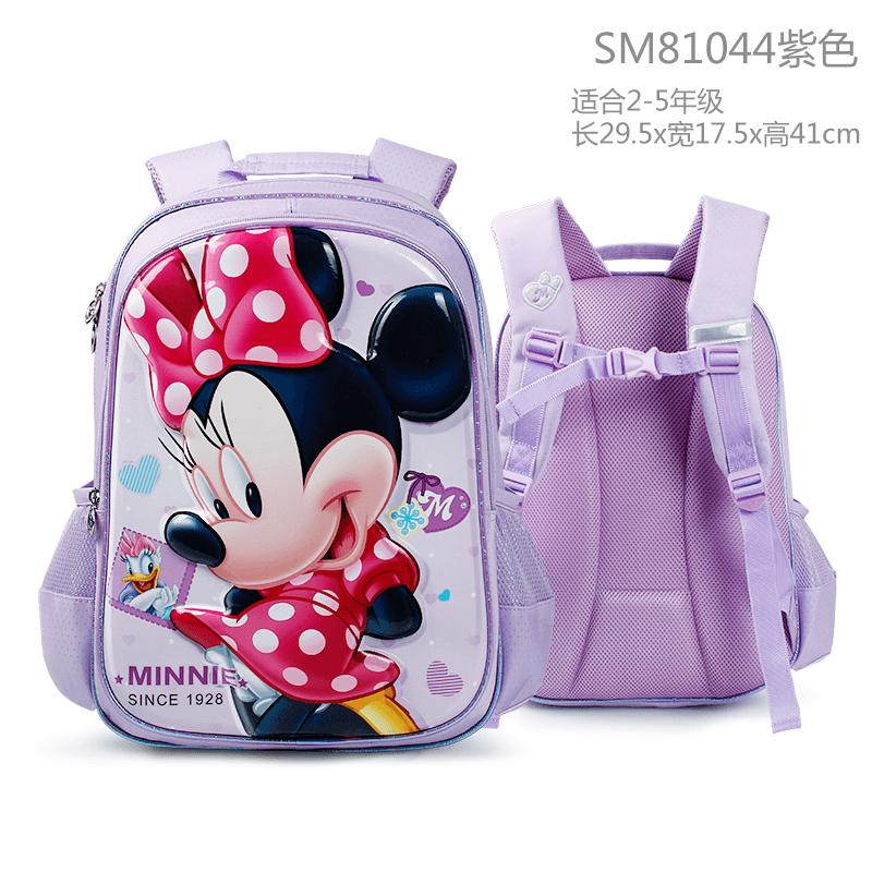Disney School Bag Female Young Students 1-3-4 Grade Girls Minnie 6-12-Year-Old Children Burden Relieving Backpack Female