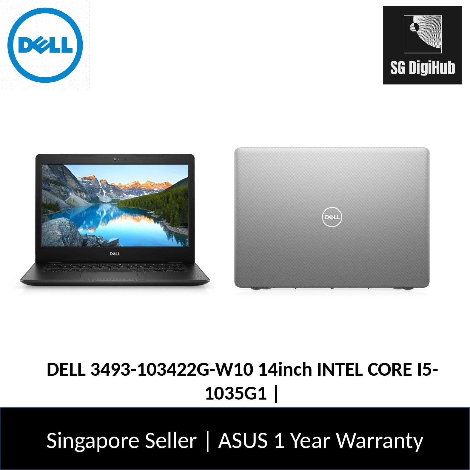 DELL 3493-103422G-W10 14inch INTEL CORE I5-1035G1 | 4GB | 256GB  SSD | WIN 10 | 1YR Warranty