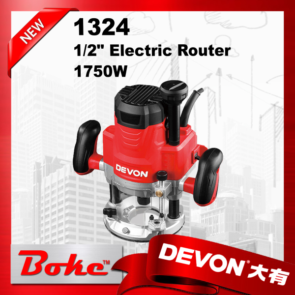 (Ready stock) DEVON 1324 1/2 inch / double handle electric router / 1750W /LED