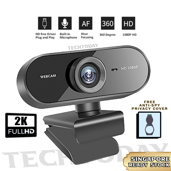 【SG ReadyStock】 2K Full HD  1080P Webcam Mini Computer PC WebCamera Microphone Rotatable Cameras Live Video Call   8.1MP