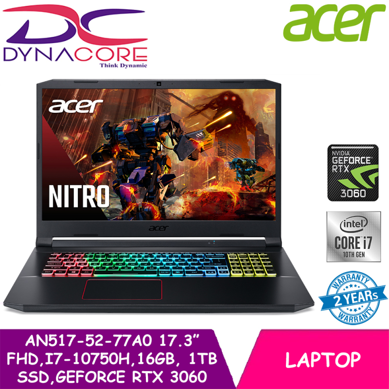 DYNACORE - Acer Nitro 5 AN517-52-77A0 | 17.3 In FHD IPS (1920x1080) 144Hz | NVIDIA® GeForce® RTX™ 3060 | Intel Core i7-10750H | 16GB RAM | 1TB SSD | Win10 Home | 2Y ACER Warranty