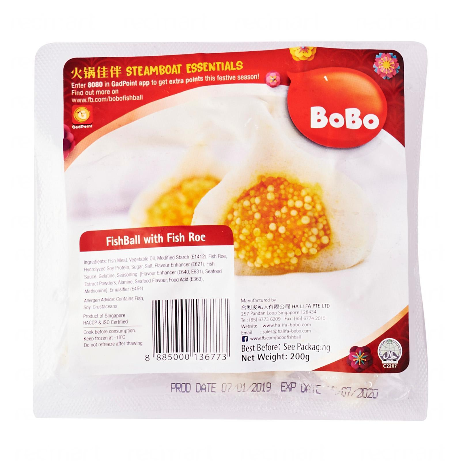 Bobo Fishball With Fish Roe - Frozen By Redmart