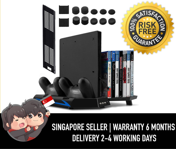 Younik VG-01 PS4 Vertical Stand Cooling Fan, Dual Controllers Charging Station, 14 Slots Game Storage and 3 Port USB Hub. The All-in-One Stand for your PS4 / PS4 Slim