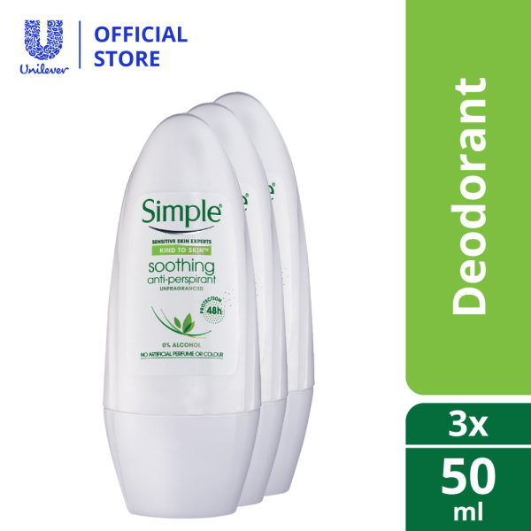 Buy (PACK OF 3) Simple Kind To Skin Soothing Anti-perspirant Deodorant Roll-on 50ml Singapore