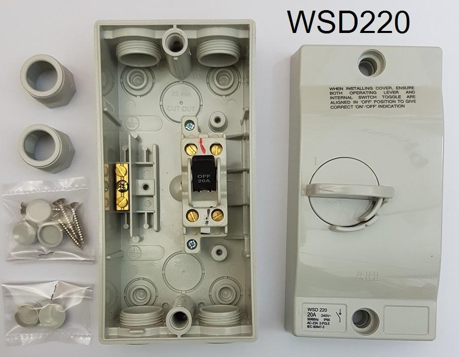 ABB Weatherproof switch isolator IP66 20A 32A 240V 50/60Hz 2 Pole