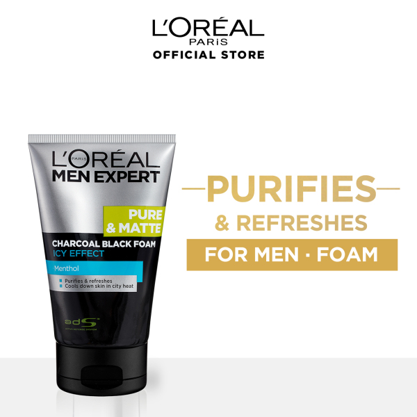 Buy Pure & Matte Charcoal Black Foam Icy 100ml by LOreal Men Expert Singapore