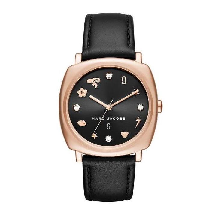 bc801d63fad5 Marc Jacobs Mandy Black Dial 34mm Quartz Crystal Charms Gold Case Women's  Black Leather Strap Watch