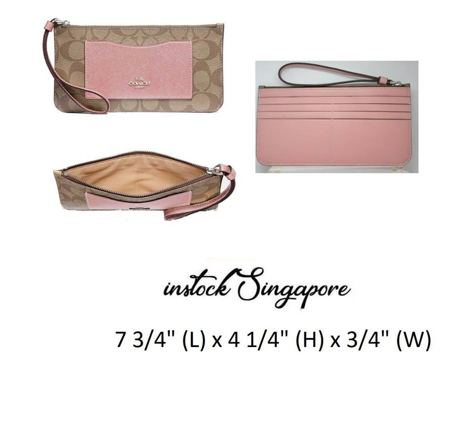 Authentic COACH ZIP TOP WALLET IN SIGNATURE CANVAS (COACH F37565)