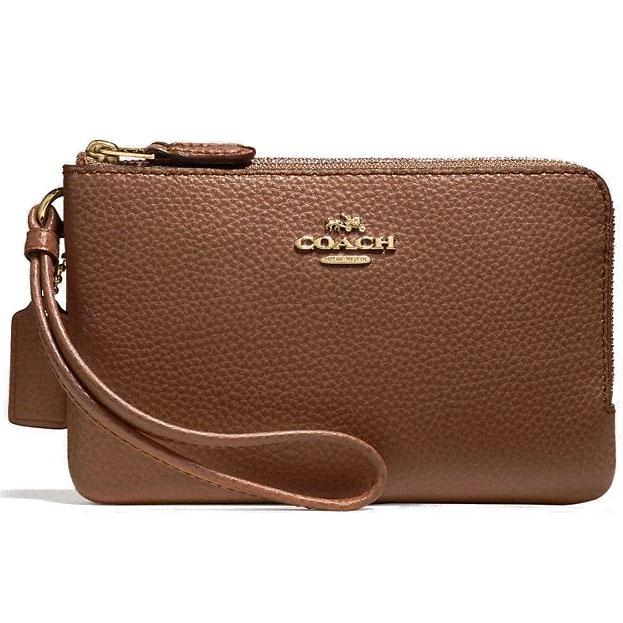 Coach Double Corner Zip Wallet In Polished Pebble Leather Wristlet Saddle Brown 2 # F87590