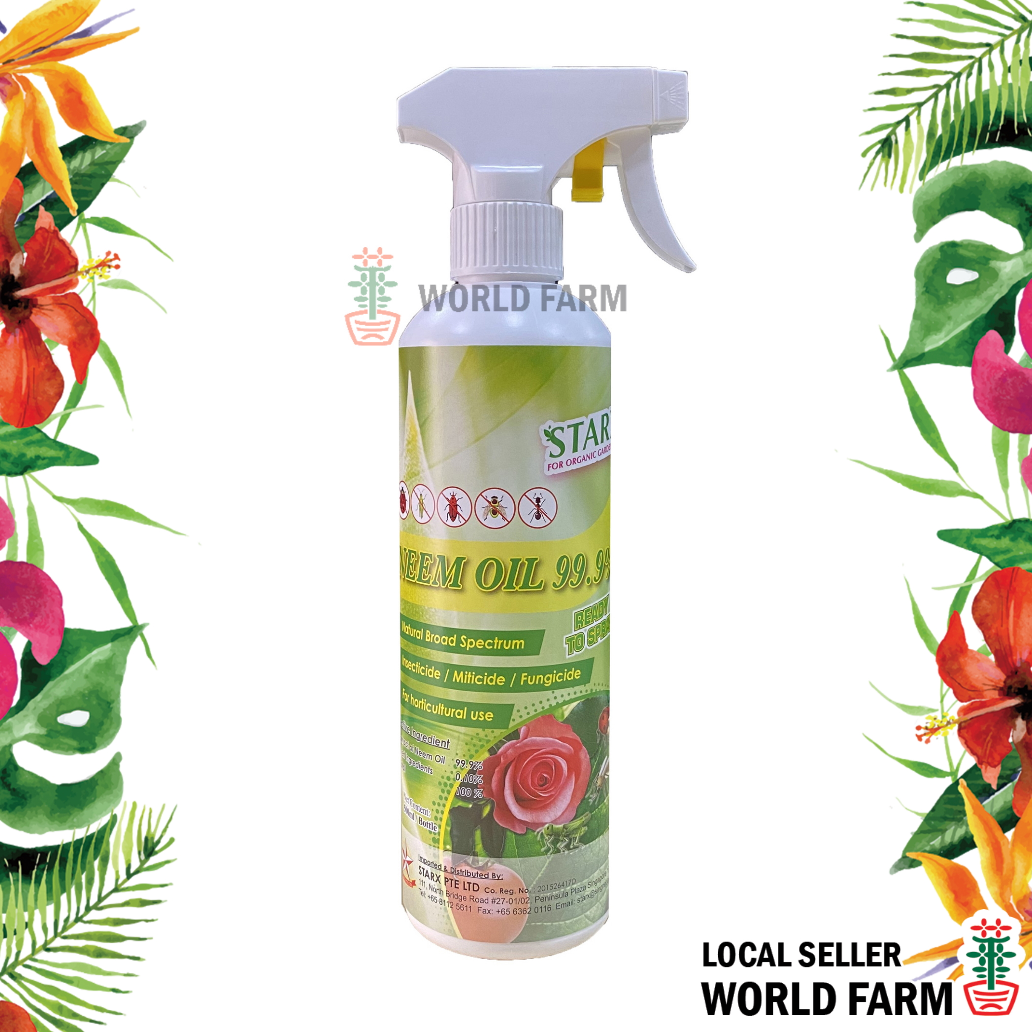 Neem Oil 99.9% Insecticide, Fungicide & Miticide Spray 500ml