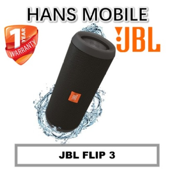 JBL FLIP 3 PORTABLE BLUETOOTH SPEAKER - HANS MOBILE - BLACK -1 YEAR OFFICIAL WARRANTY Singapore
