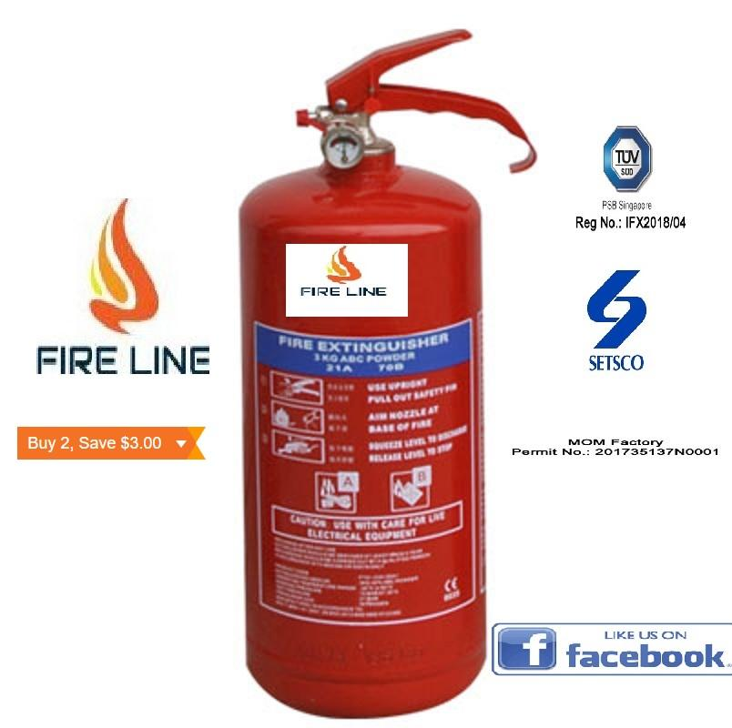 3KG SG Approved ABC Dry Powder Fire Extinguisher ( With Two Year Warranty)