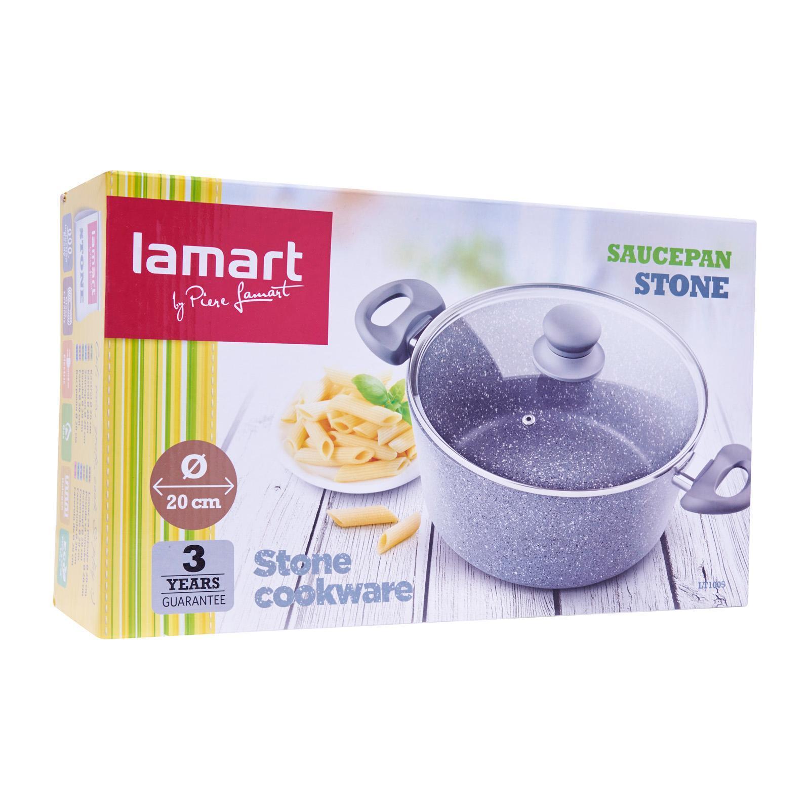 Lamart Induction Ready Marble Stone Saucepan/Casserole 20Cm 3L