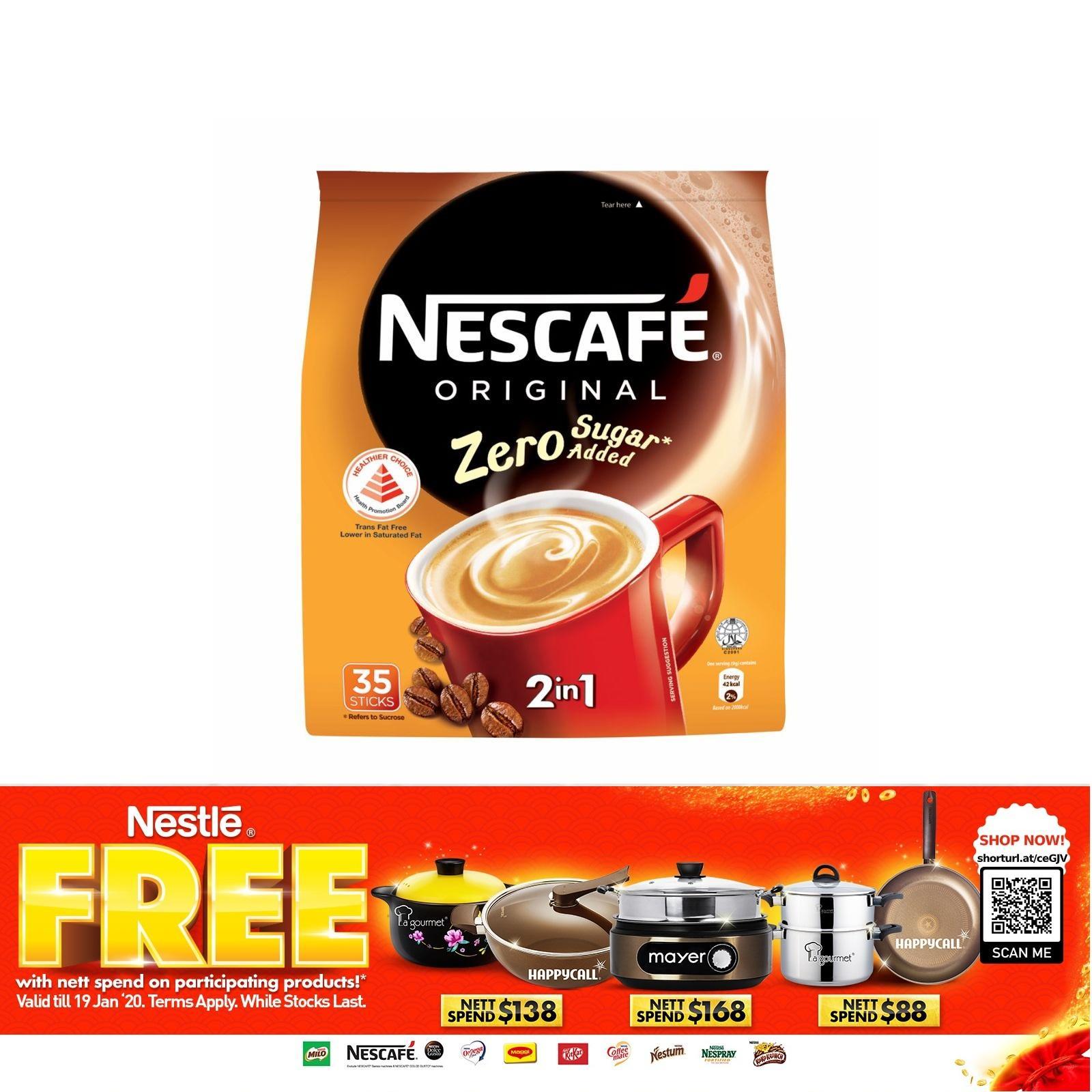 NESCAFE Zero Sugar Added 2 In 1 Instant Coffee 35S