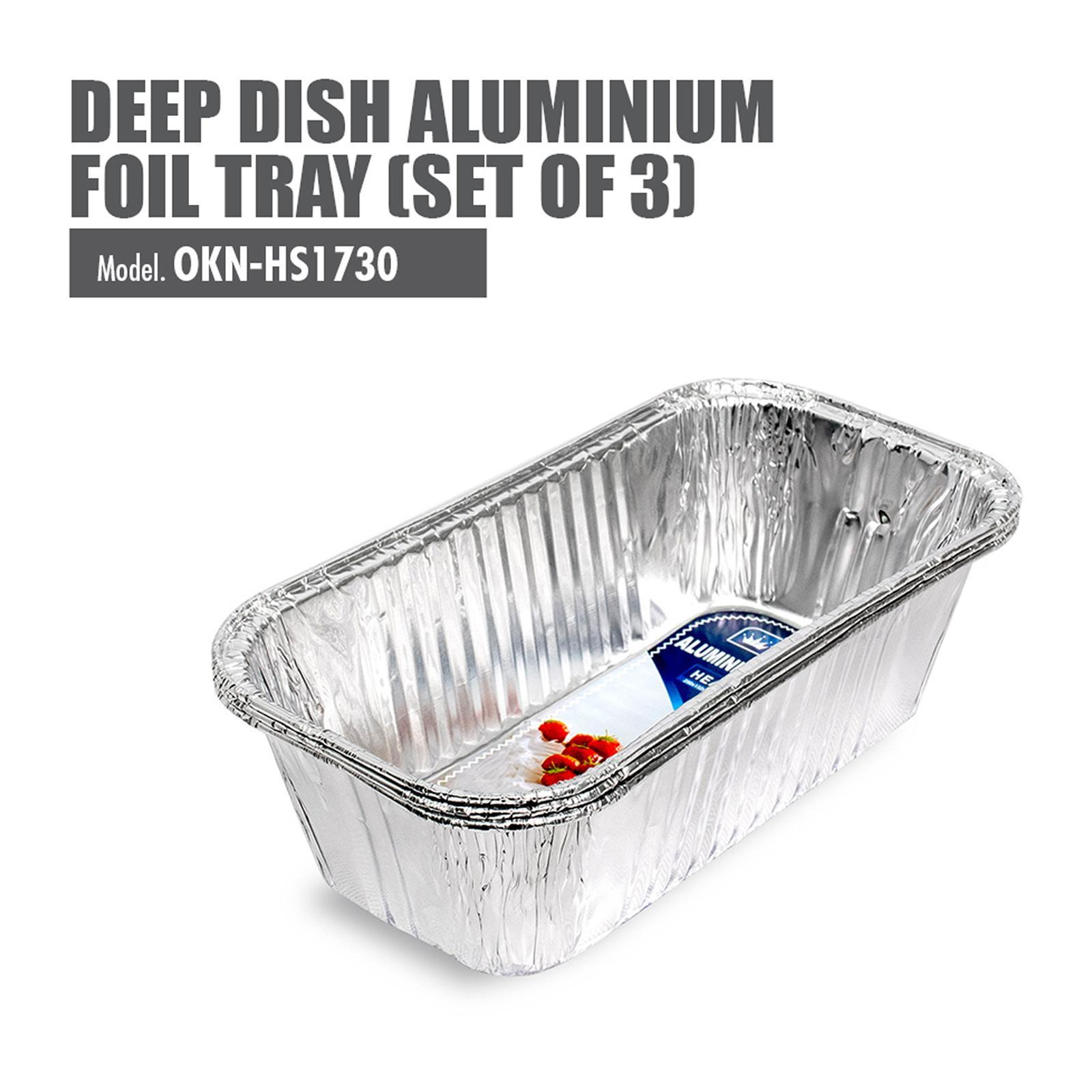 HOUZE Deep Dish Aluminium Foil Tray (Set Of 3) - 250X132X70MM