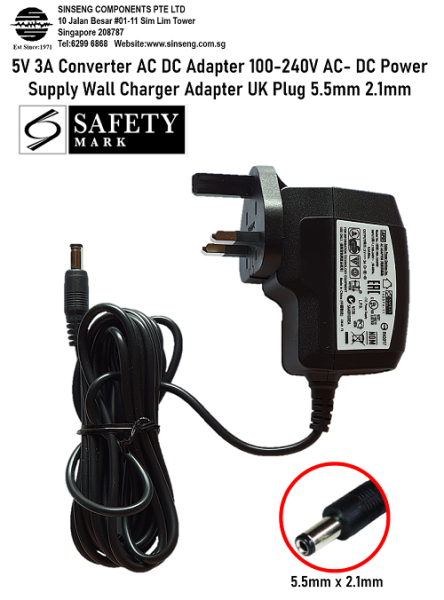 5V 3A Converter AC DC Adapter 100-240V AC- DC Power Supply Wall Charger Adapter UK Plug 5.5mm 2.1mm