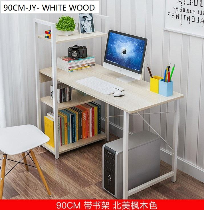 H Design Computer Study Table With Bookshelves (90cm JY)