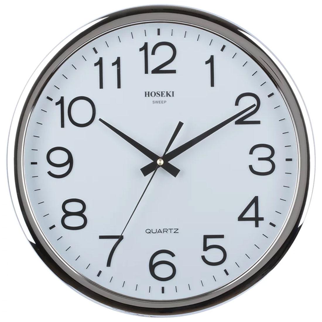 Hoseki Quartz H-9407S H-9407 Silver Sweep Round Decor Wall Clock