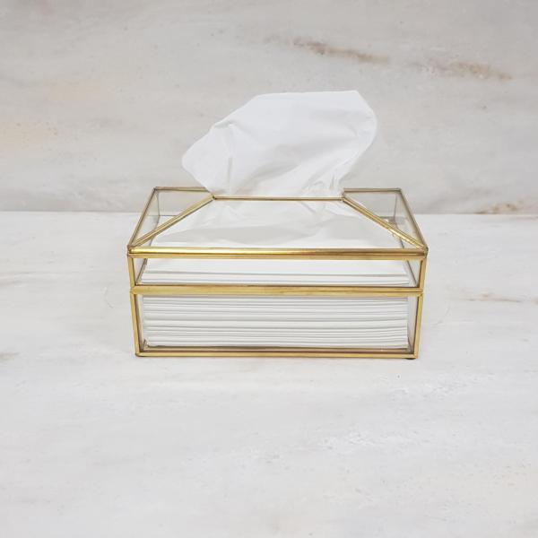 Gold geometric terrarium/ring boxes Tissue box