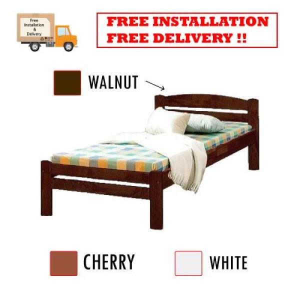 [A-STAR] Single solid wooden bed frame in Cherry Walnut White (3 feet)