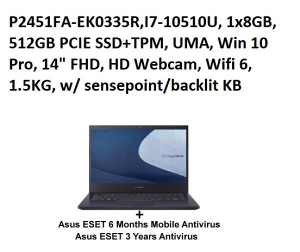 ASUS P2451FA-EK0335R,I7-10510U, 1x8GB, 512GB PCIE SSD+TPM, UMA, Win 10 Pro, 14 FHD, HD Webcam, Wifi 6, 1.5KG, w/ sensepoint/backlit KB