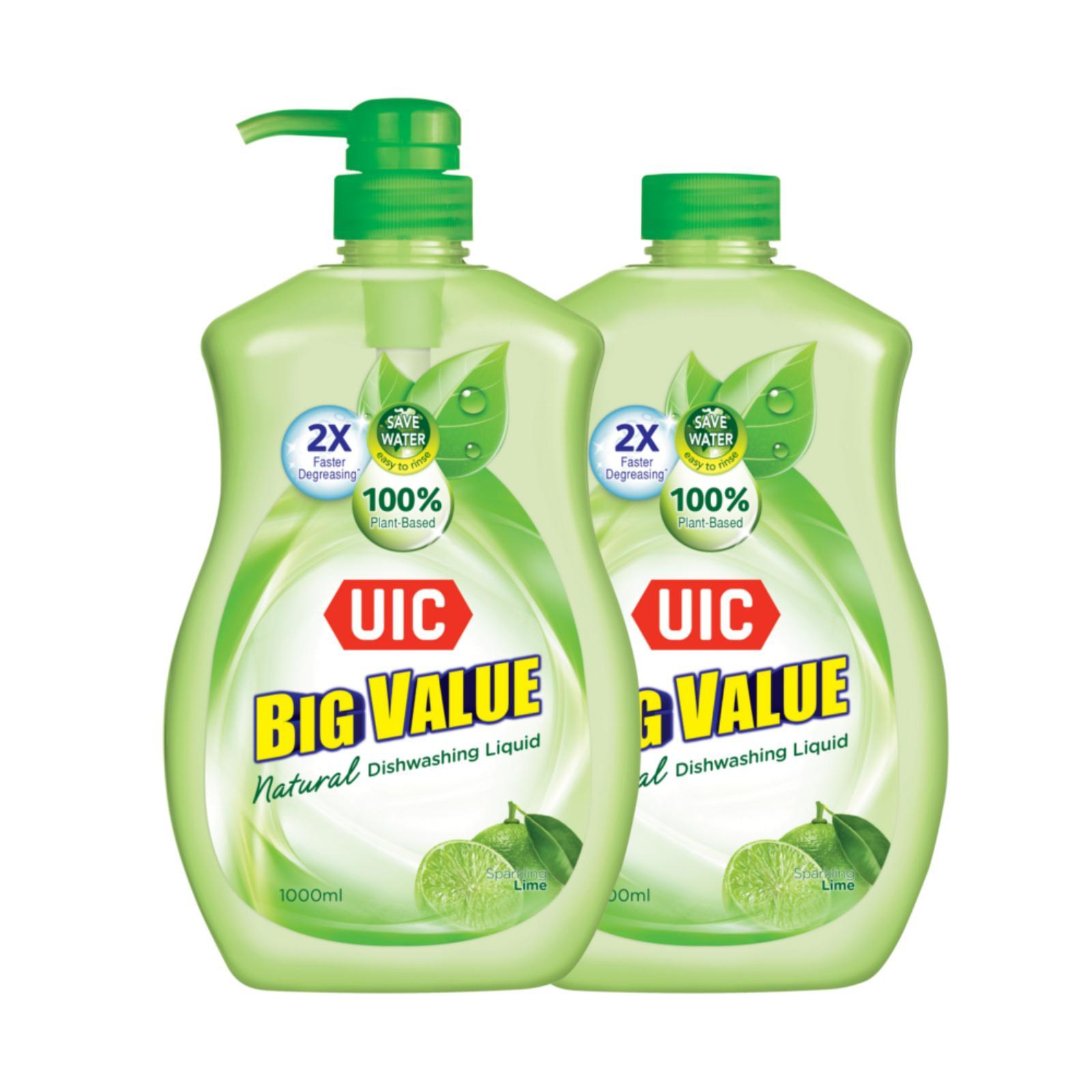 UIC Big Value Natural Lime Dishwashing Liquid Twin Pack