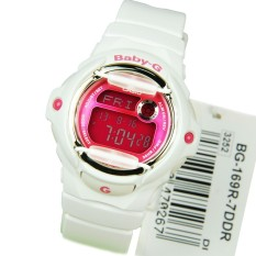 Retail Price Casio Baby G Bg 169R 7D Digital Telememo Glossy White Resin Ladies Sport Watch