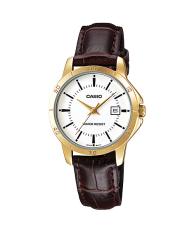 Sale Casio Ladies Brown Leather Strap Watch Ltp V004Gl 7A Casio Branded