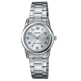 Brand New Casio Ltp V001D 7B Analog Numeral White Dial Stainless Steel Ladies Watch