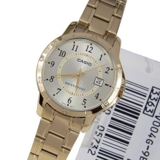 Discount Casio Ltp V004G 9B Analog Gold Dial Stainless Steel Ladies Watch Multicolor Casio