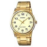 Buy Casio Mtp V001G 9B Men Analog Mineral Glass Stainless Steel Gold Dial Watch On Singapore
