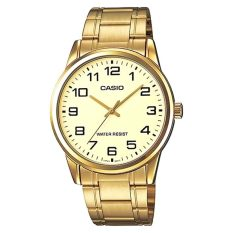 Buy Casio Mtp V001G 9B Men Analog Mineral Glass Stainless Steel Gold Dial Watch Cheap Singapore