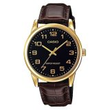 Discount Casio Mtp V001Gl 1B Men Analog Mineral Glass Leather Strap Black Dial Watch Casio