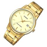 Promo Casio Mtp V002G 9A Men Analog Mineral Glass Stainless Steel Gold Dial Watch