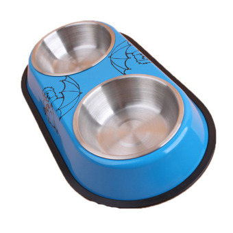 Cat Dog Food Bowl Dual Bowls Design Stainless Steel Feeding Water Heat Resistant Pets Pot Pet Products Blue Lowest Price