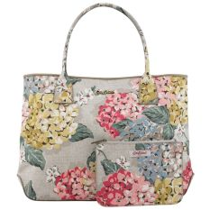 Cheaper Cath Kidston Embossed Handbag Tote With Small Pouch 15Aw Hydrangea Pattern Colour Oat 556248