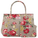 Price Cath Kidston Embossed Handbag Tote With Small Pouch 15Aw Winter Rose Colour Oat 516174 Singapore