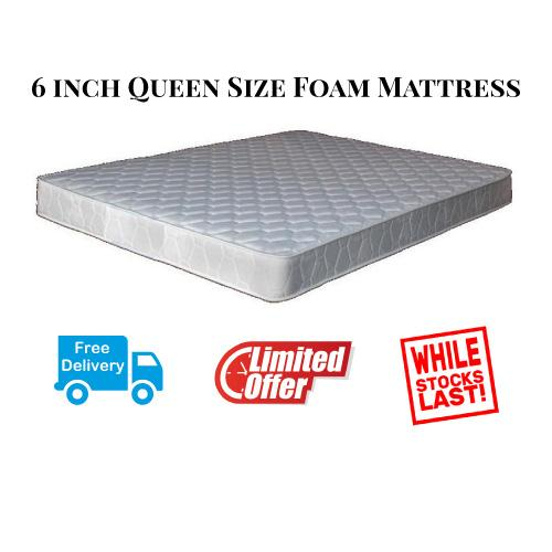 Queen Size Foam Mattress for bed 6inch (FREE DELIVERY)