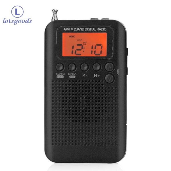 lotsgoods Outdoor Portable AM/FM Stereo Radio HRD-104 Pocket 2-Band Digital Tuning Radio Mini Receiver Outdoor Radio with Earphone Lanyard Singapore